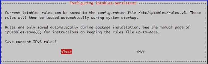 Save IPv6 rules prompt.
