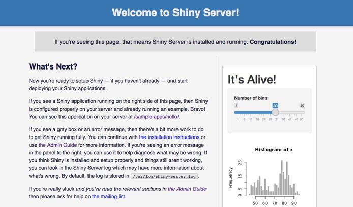 Shiny Server Welcome Page