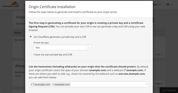 Cloudflare crypto - new certificate and private key
