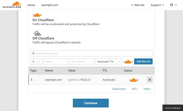 Cloudflare setup - DNS record scan results