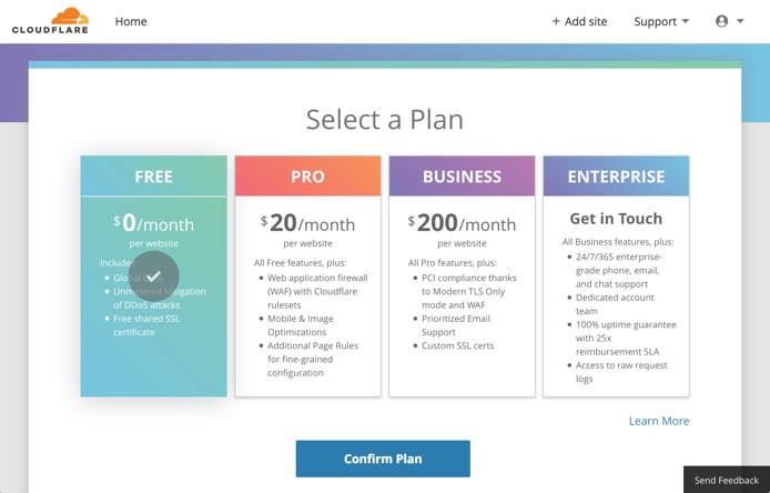 Cloudflare setup - select plan