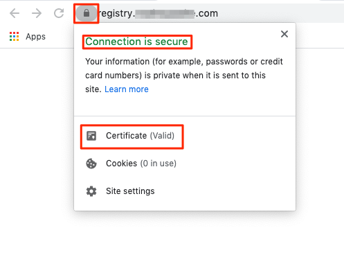 Verify that your Docker registry's site loads your TLS certificate