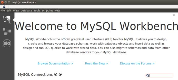 MySQL Workbench Welcome Screen